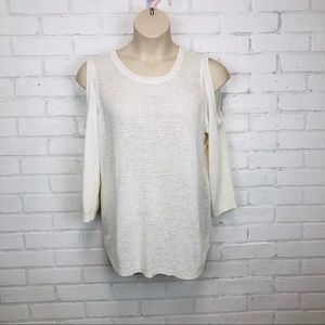 Chicos White Cold Shoulder Sweater sz 3